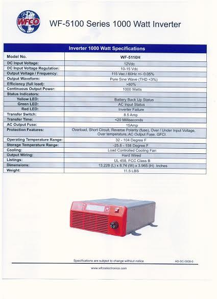 1000 Watt Pure Sine Inverter Hard Wire W Transfer Switch