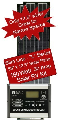 Zamp Slim Line Airstream 160 Watt 30 Amp Solar RV Kit ZS-160-30A-L