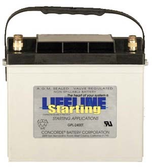 GPL-2400T 12 Volt, 870 Cold Cranking Amps Starting Battery AGM