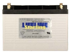GPL-3100T 12 Volt, 1120 Cold Cranking Amps Starting Battery AGM